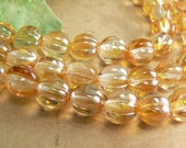 Crystal Celsian Gold Czech Glass Melon Beads Fluted Amber Champagne 8mm (25)