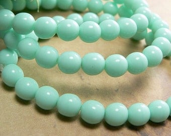 Mint Green Czech Glass Beads Round Druk Opaque 6mm (25)