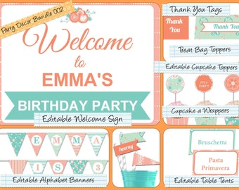 Party Decor Bundle,Editable PDF Welcome Sign, Alphabet Banner, Cupcake Toppers, Table Tents, Straw Flags, Thank You Tags & much more PDB-002