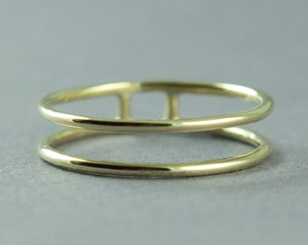Solid Gold Band Ring, Rose Gold, Yellow Gold, Wide Band Ring, Double Band Ring, 14K Gold, Made to Order, Free Courier Shipping