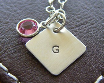 """Personalized Diamond Charm Initial Necklace – Hand Stamped Sterling Silver – Single 1/2"""" Diamond Pendant with Optional Birthstone or Pearl"""