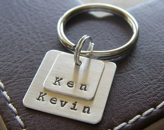 Custom Keychain - Personalized Hand Stamped Sterling Silver - Two Layered Square Mini Key Chain - Perfect Gift for Father's Day