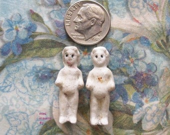 Primitive Frozen Charlotte German Doll Parts Antique Undamaged Tiny Bisque Art Jewelry Assemblage Relics