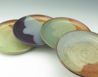 Stoneware Dinner Plate, Set of Four 10 in Pottery Main Course Plates, Stoneware Serving Dishes, Various Color Choice 4-6 Week Turnaround