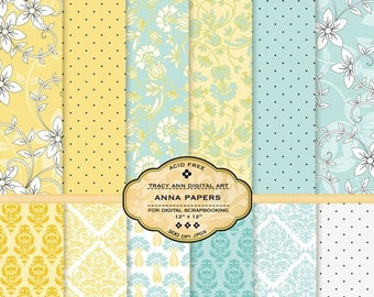 Blue and Yellow Digital Papers Scrapbook Printable Sheets Floral, Damask Polka Dots