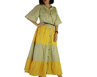 Green and Yellow Cotton Long Patchwork DressOversize Maxi Buttons Long Tunic (D 8)
