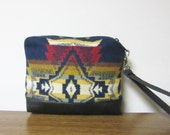 Wristlet Small Wrist Bag Clutch Bag Purse Cosmetic Bag Make Up Pouch Removable Black Leather Strap Tribal Inspired