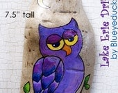 Purple Owl, Original hand painted Driftwood, Folk Art, wall sculpture, handmade, handpainted, earth art,