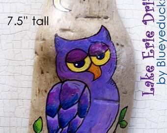 Purple Owl, Original hand painted Driftwood, Folk Art, wall sculpture, handmade, handpainted, earth art,
