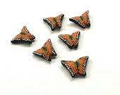 Monarch Butterfly Beads, Flutteryby Cane, Polymer Clay Beads, Orange Yellow Beads 6 Pieces