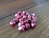 Glass Based Pearl Beads - 25 Pieces - Wine Maroon Beads