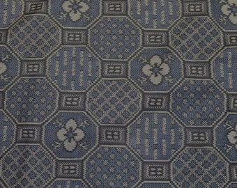 Gray, Indigo and Charcoal Floral Fortunate Hexagons Tsumugi Silk Japanese Vintage Kimono Fabric BTY