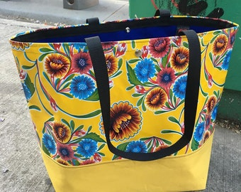 Large Yellow Floral Oil Cloth and Canvas Trimmed Beach Bag, Tote Bag, Satchel