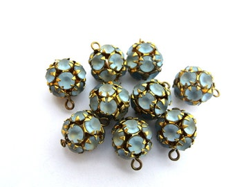 2 Vintage SWAROVSKI dangling BEADS 11mm crystal blue rhinestones in brass setting- RARE
