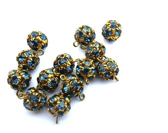 2 Vintage Swarovski connector ball BEADS crystal 8mm indigo blue rhinestones in brass setting
