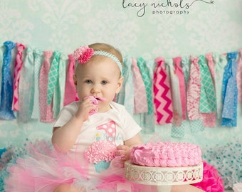 Baby Girl 1st Birthday Outfit - Aqua and Pink Tutu Outfit - Cupcake Birthday Tutu - Cake Smash Outfit