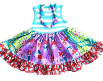 Little Mermaid Ariel Disney Princess dress Momi boutique custom dress