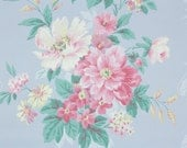 1950s Vintage Wallpaper by the Yard - Pink and Yellow Peonies on Blue