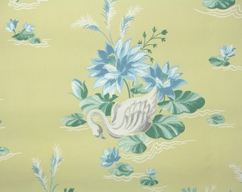 1950's Vintage Wallpaper - White Swan and Blue Waterlily on Yellow
