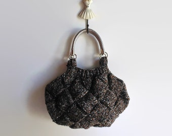 Marl Brown Grey Wool Knitted Woman Handbag, Hobo Bag, Tote, Short Handles Straps, Medium Purse, Fashion Bags Top Handles, Winter Accessories