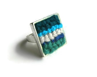 Blue Green Stripes Square Cocktail Ring, Adjustable, Textile Jewelry, One of a Kind, Womens, Ethnic, Solitaire, Cute, Embroidery, Big Chunky