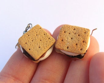 Smores Earrings, Food Jewelry, Miniature Food, Campfire Earrings, Food Earrings