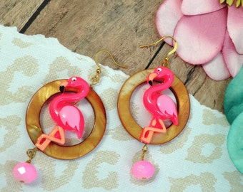 TIKI FLAMINGO EARRINGS- Cute, Fun, Kitsch, Tropical, Floral, Flamingo Shell