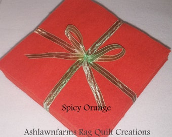 Solid SPICY ORANGE, FLANNEL Fabric Squares, Rag Quilt, Traditional Quilting, pick size & quantity, We Cut You Sew