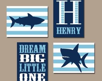 SHARK Wall Art, Baby Boy Nursery Artwork, Sharks Nautical Boy Bedroom Ocean Child Navy Blue Monogram Dream Big Set of 4 Canvas or Prints