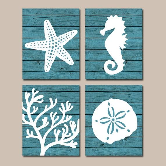 Seahorse Home Decor Wall Art Coastal Decor By Seashoresecrets: Beach BATHROOM Wall Art CANVAS Or Prints Nautical Coastal