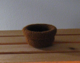 Small Brown Felted Bowl w/Cuff - In Stock - Ready to Ship