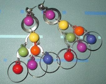 Vintage MOD Multi Color Bead Chandelier Dangle Earrings
