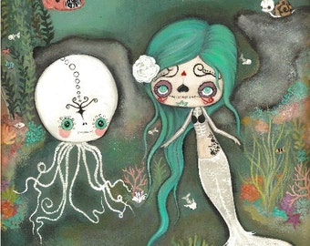 Day Of The Dead Original Painting Cute Dead Zombie mermaid Octopus Skeleton Wall Art  22 x 28