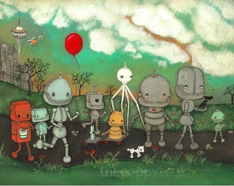 Robot Painting Original Art Nursery Childrens City Parade Print ---18 x 24 Original Painting