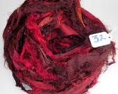 Sari Silk Ribbon, Recycled Silk Sari Ribbon, Red Fuzzy ribbon, washed ribbon