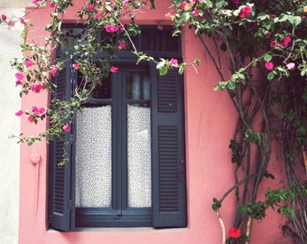 "Greece photography - Coral pink house - window art print - architecture photography - flower vine - lace curtain 11x14 print ""Black on Pink"""
