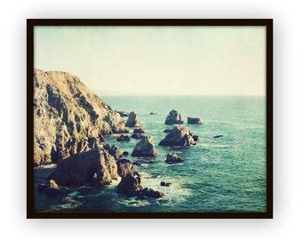"Beach ocean photography print, California coast landscape seascape print coastal brown blue rustic wall art ""California Beauty"""