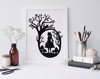 Alice Silhouette Cut Paper Art Scherenschnitte Alice In Wonderland Inspired Scissor Cut Portrait