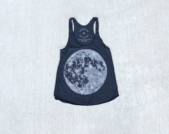 MOON tank top for women. Racerback tank top tshirt. Yoga workout shirt for her. Full moon screenprint by Blackbird Tees - CLOSEOUT