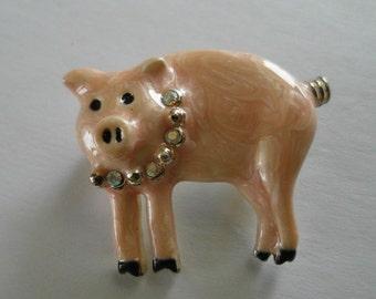 Danecraft Enamel Pig With Rhinestones ADORABLE