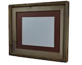 11x14 upcycled wood picture frame with brown 8x10 mat. Handmade in the USA!
