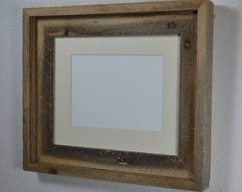 8x10 natural gray wood picture frame with off white 5x7 mat