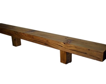 """Upcylced rustic wood shelf 36 long, 3.75"""" wide 2"""" thick wood"""