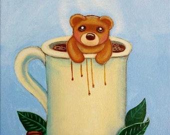 ORIGINAL Big Eye Art Acrylic Painting Coffee Mug Beans Chocolate Tea Teddy Bear Cute Children Java Tamia Chicasol
