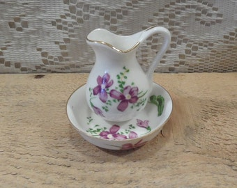 Porcelain Bowl and Pitcher purple flowers small