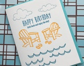 Beach Birthday - letterpress card