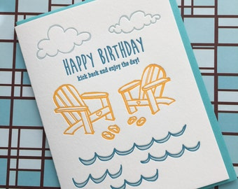 Beach Birthday Letterpress Card