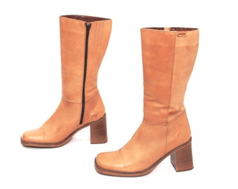 size 8.5 PLATFORM tan leather 80s 90s CAMPUS zip up tall boots