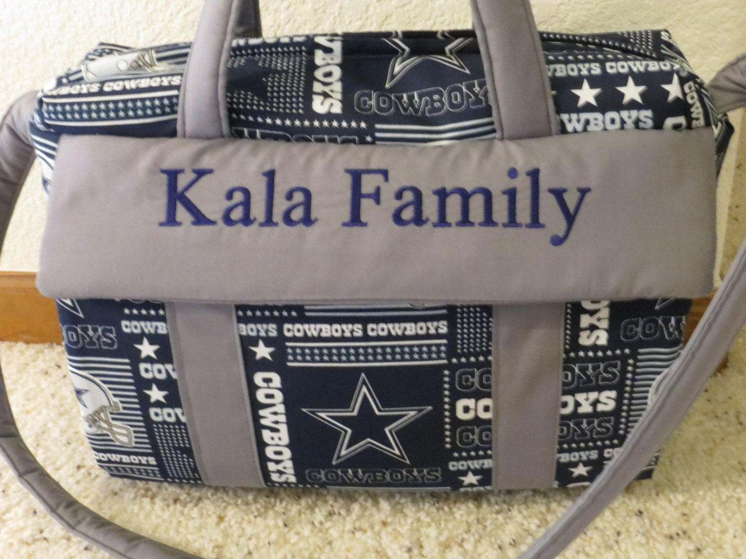 dallas cowboys diaper bag with changing pad by emijane. Black Bedroom Furniture Sets. Home Design Ideas