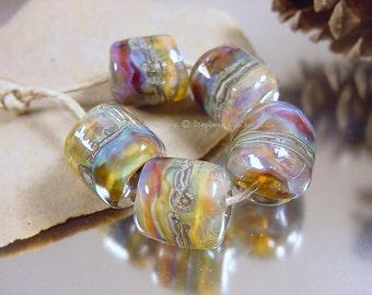 Handmade lampwork glass beads, Artisan glass beads, organic style beads, blue beads, purple beads, gold beads, blue beads, barrel beads, SRA